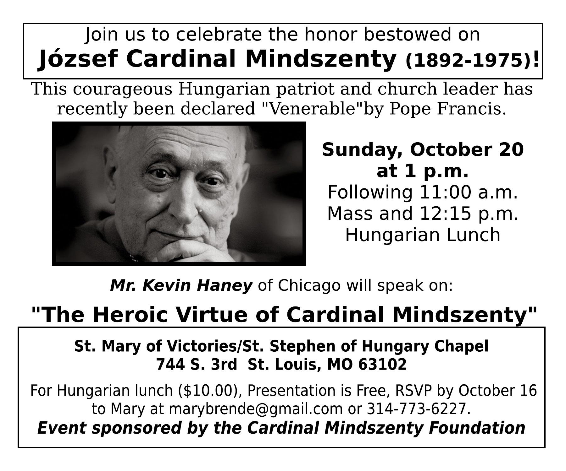 Cardinal Mindszenty Speaker Series