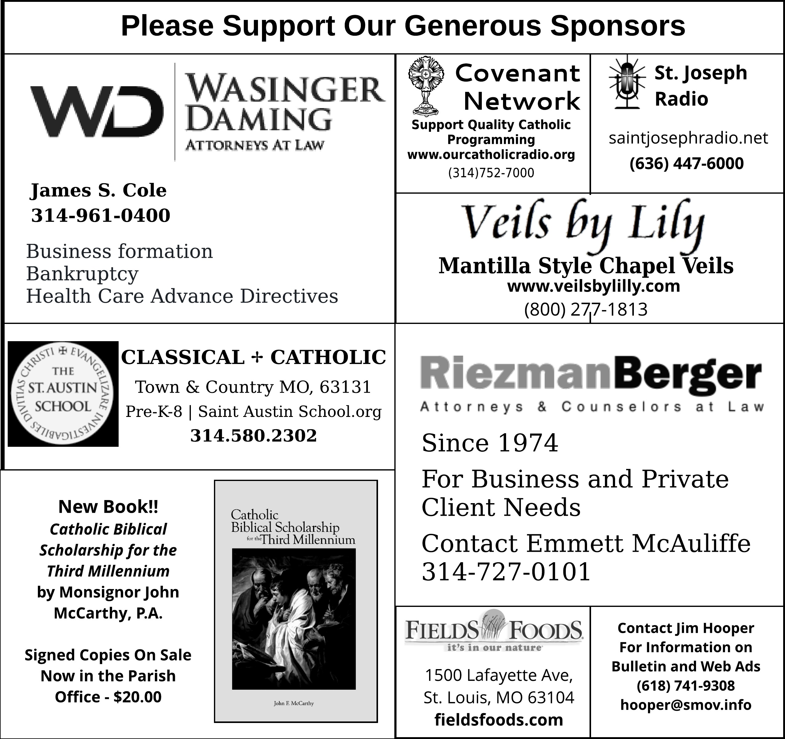 Our Generous Sponsors
